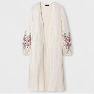Art Class Embroidered Kimono Cardigan Beige L